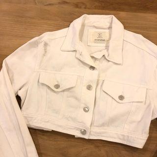 cotton on cropped white denim jacket