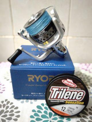 Ryobi 6500 made in japan with berkley triline 12lb (orange blaze)