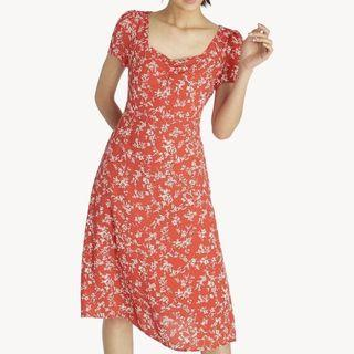 Pomelo Midi Ruched Floral Dress