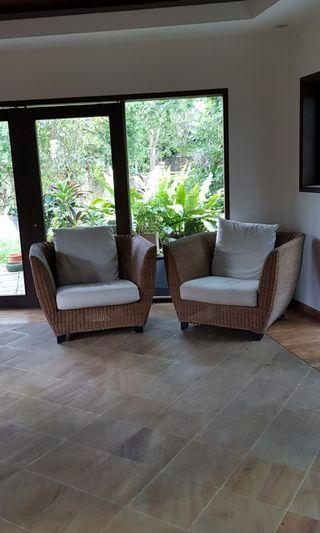 Rattan armchairs with cushion