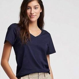 Uniqlo Supima V Neck Tshirt - Navy Blue #endgameyourexcess