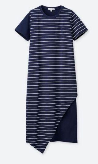 🚚 Uniqlo JWA Asymmetric Striped short sleeve dress