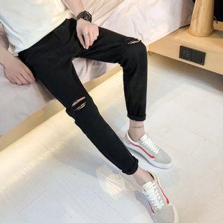 #189 (2 DESIGNS) black high waisted distressed ripped jeans ulzzang korean knee rip