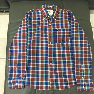 🚚 《二手》A&F紅藍方格薄長袖襯衫(L號)
