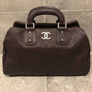 🚚 (可換物也可直購)Chanel荔枝牛皮深咖啡色波士頓包
