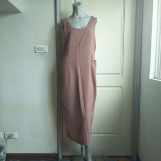 【onsale】YEA DAY淺磚色素面背心裙.連身裙.無袖洋裝