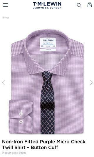 29a8ab1f T.M. Lewin Stripe Shirt 15inchCollar, Fitted, 33inchsleeve, Men's ...