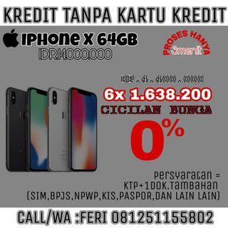 Iphone X64GB Bunga0% Cicil Pakai KTP