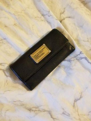Marc Jacobs Classic Q Long Trifold Leather Wallet Black