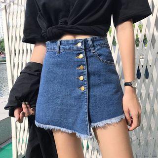 #191 (3 COLOURS) ulzzang uneven button up down denim skirt black white denim blue