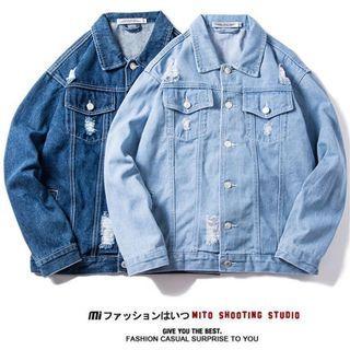 #192 (3 COLOURS) light blue/dark blue denim ripped jacket