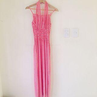 Cherry Red and White Abstract Maxi Dress