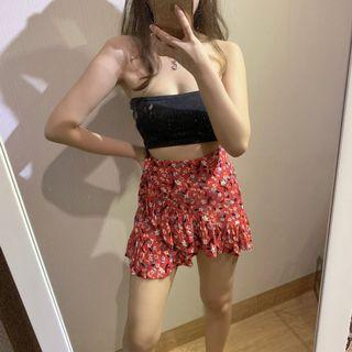 cotton on floral ruffle skirt