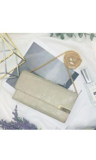 GUCCI WOC WALLET ON CHAIN GG MONOGRAM LIGHT GREY AUTHENTIC VINTAGE CW091