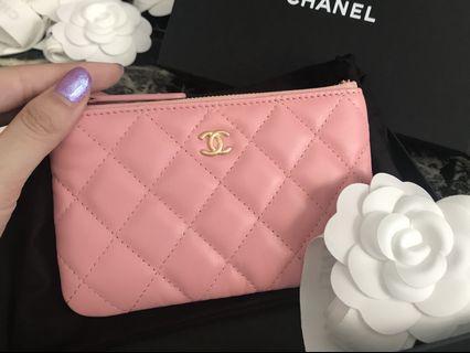 💖19SS Rare💖BNIB Chanel Mini O Case Pink Calf Leather Ghw #27