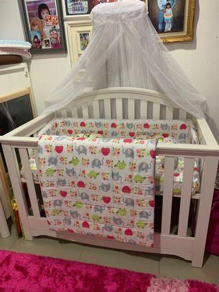 Baby Cot with Free Mosquito Net, Mattress and 2 Sets Bedsheet