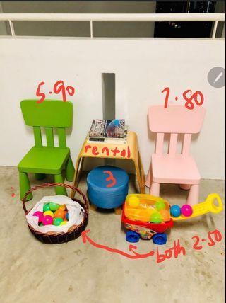 Children chair, stool, toys, balls, books