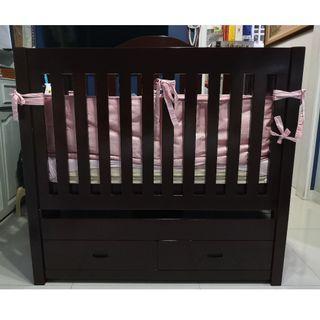 Adjustable Pure Mahogany sofa-crib with drawers