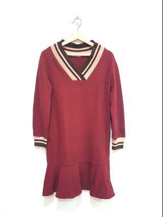 50%學院風可愛長袖洋裝