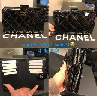 Chanel 漆皮黑色銀包