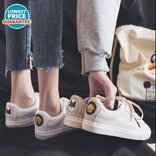 #194 (2 COLOURS) animal embroidery sneakers white / beige cream canvas shoes