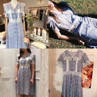 Vb原單復古藍色lace 連衣裙