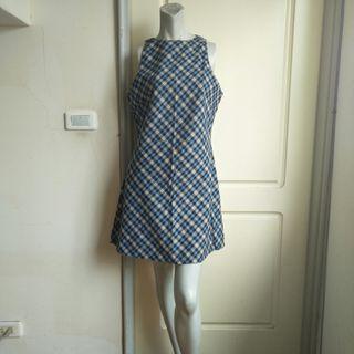 【onsale】80年代藍黑白黃格紋削肩洋裝.無袖洋裝.連身裙
