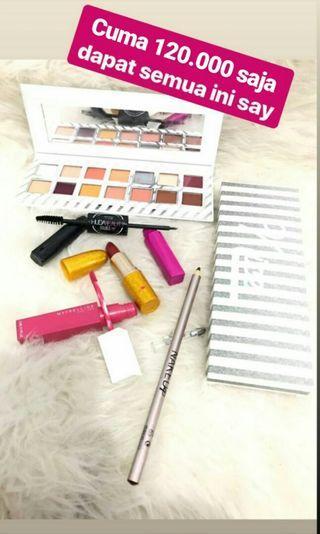 PAKET LENGKAP 3 lipcream, lipstick, mascara, eyeshadow