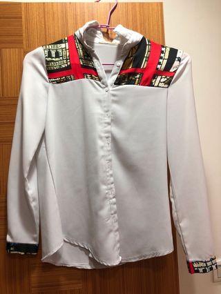 印花設計厚雪紡白襯衫