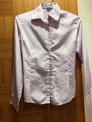 🚚 粉紫直條紋襯衫