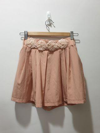 3D embroidered floral shorts