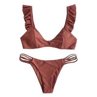 Gols Ruffle Lattice Two Piece Swimwear 1A0063