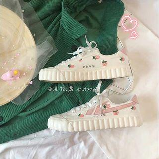 [P.O] Ulzzang Strawberry White Sneakers