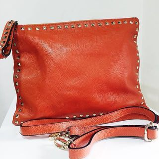 4bcd126128c Valentino Rockstud Inspired Bright Orange Cowhide Leather Clutch with studs  & detachable strap