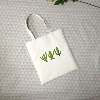 白色 仙人掌🌵帆布包 大容量 防水