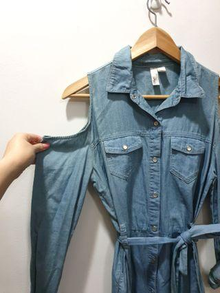F21 cold-shoulder denim dress