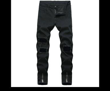 fashion Jeans black pants men ripped