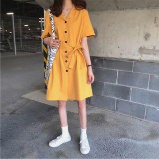 🚚 [HOT] Korean Ulzzang Yellow Mustard Summer Dress Cute Button Down Simple Plain Casual #EndgameYourExcess