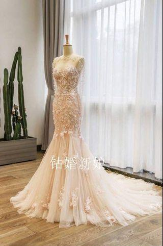 Embroidery fishtail wedding dress Ready Stock!!!