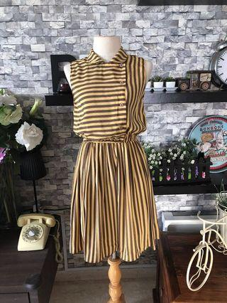 Vintage 1980s mustard and brown stripe dress