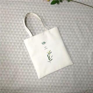 花草 白色帆布包 防水 大容量