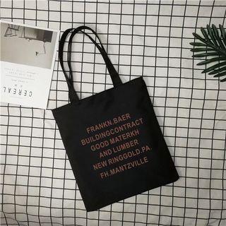 英文字樣 黑色帆布包 大容量 防水