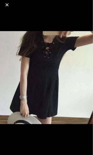 black lace up babydoll dress