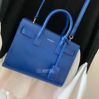 YSL sac de jour nano small leather bag 小手挽袋 風琴袋 handbag electric blue
