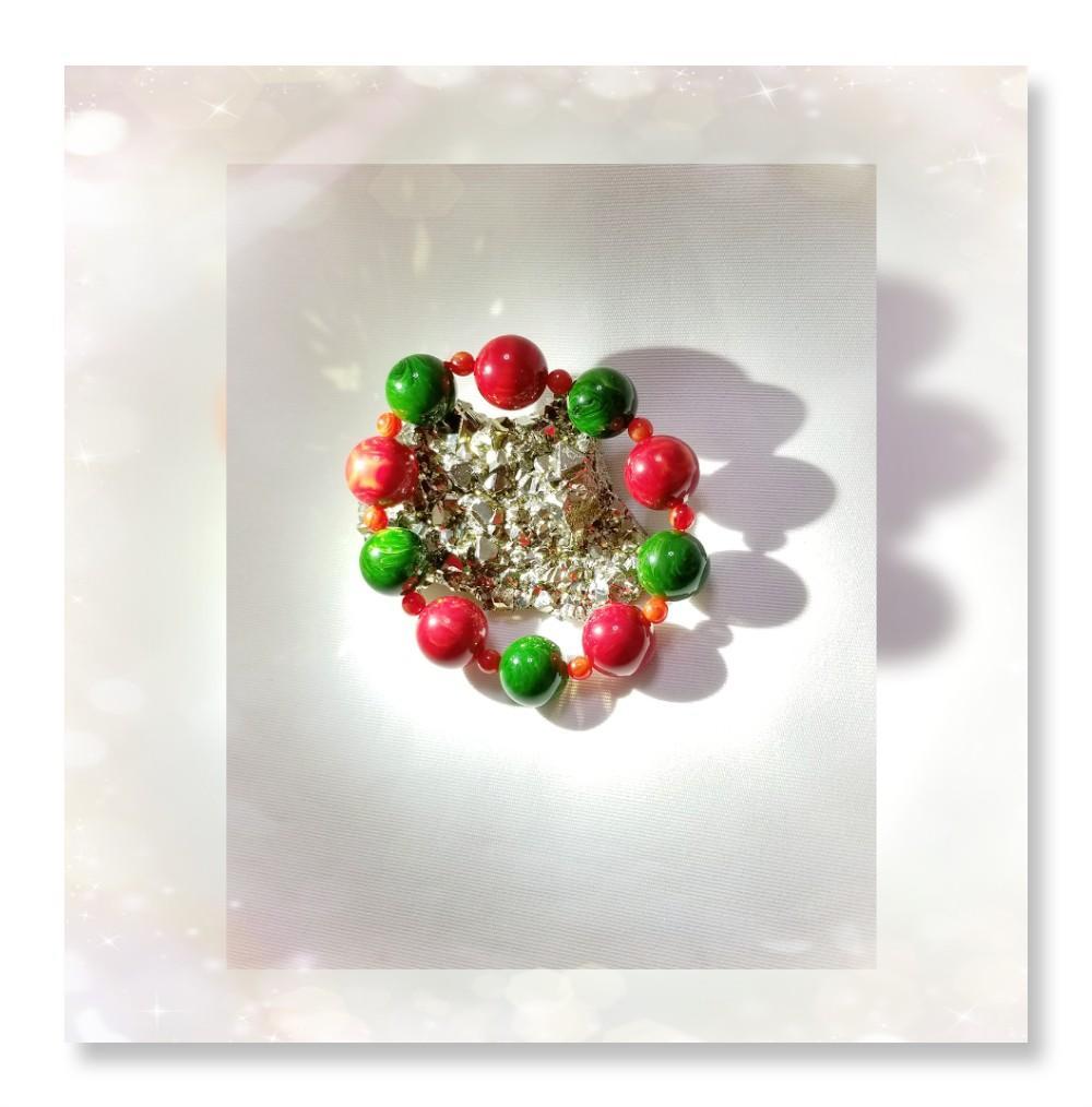 全新品 原產地 伊朗 18mm 圓珠 紅、綠雪山蜜蠟/ 6mm 紅絲蜜蠟圓珠 手串一條 QB-132