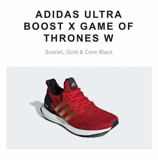 new concept dee38 0ce9a ADIDAS ULTRA BOOST X GAME OF THRONES W Scarlet, Gold   Core Black ...