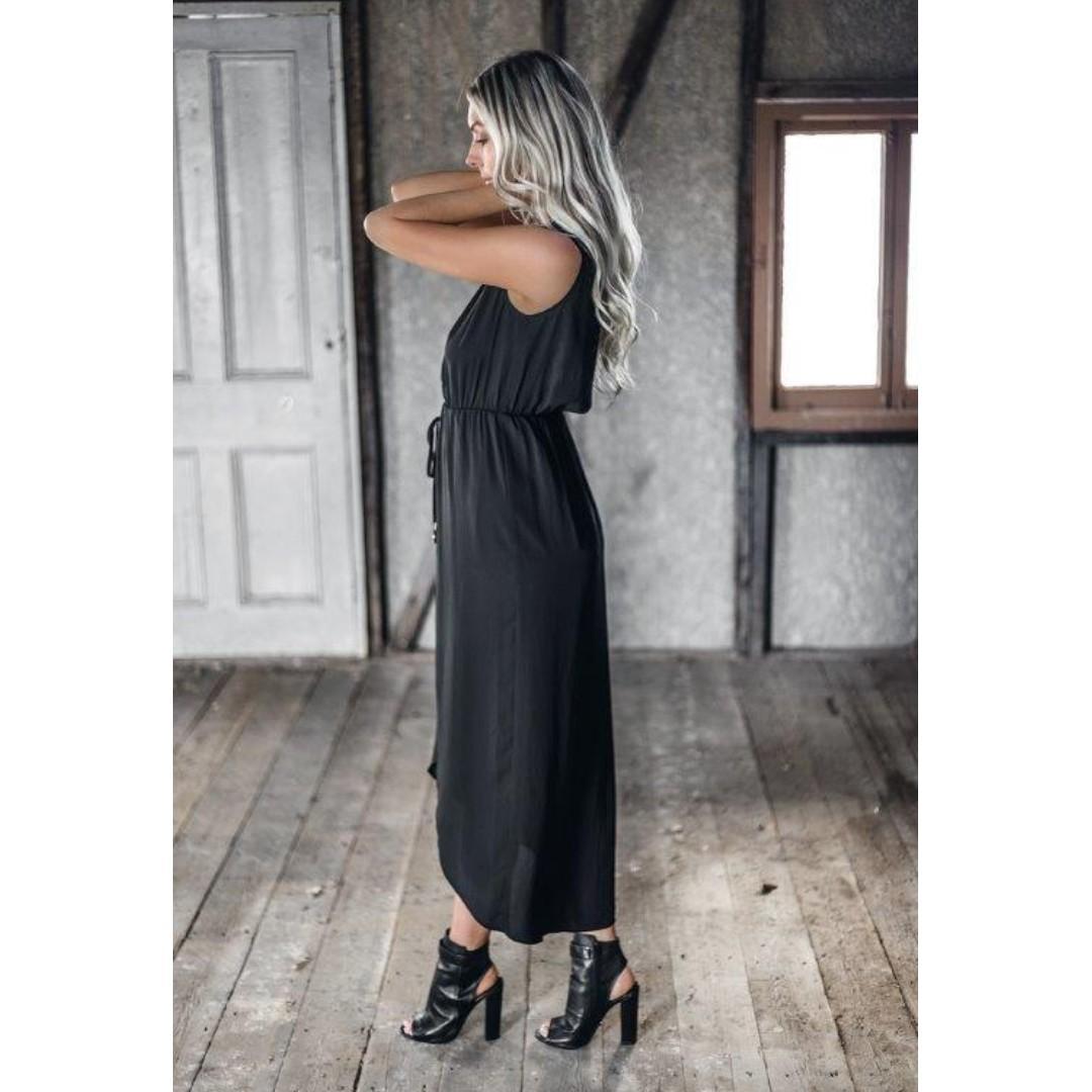 AFTERPAY AVAILABLE - BLACK MAXI BELINDA TIE WAIST DRESS 6