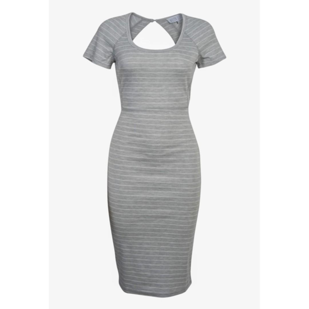 AFTERPAY AVAILABLE - OPENBACK FITTED STRIPE MIDI DRESS XS / M & L AVAILABLE
