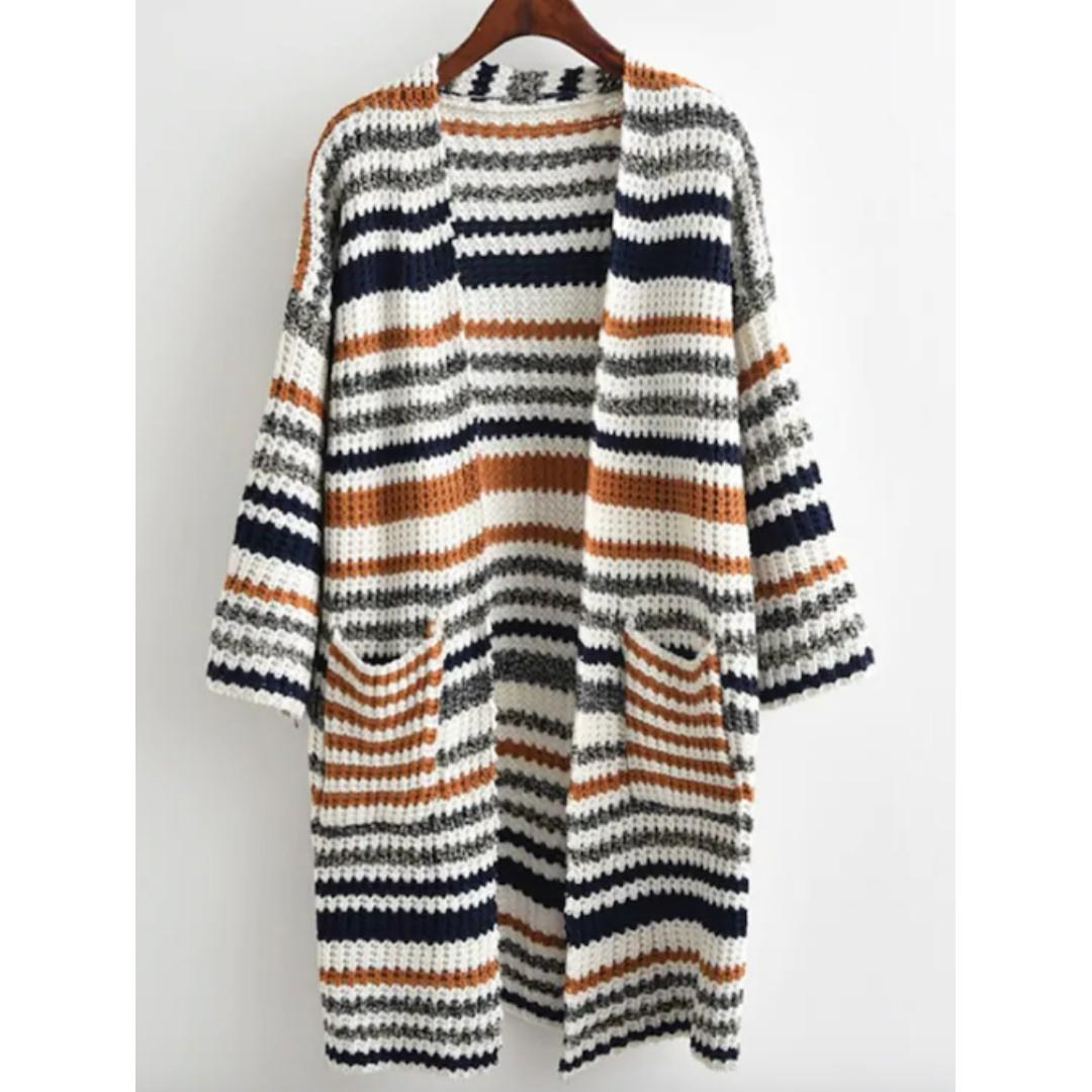 AFTERPAY AVAILABLE - STRIPE LONG KNIT MAXI CARDIGAN XS - L