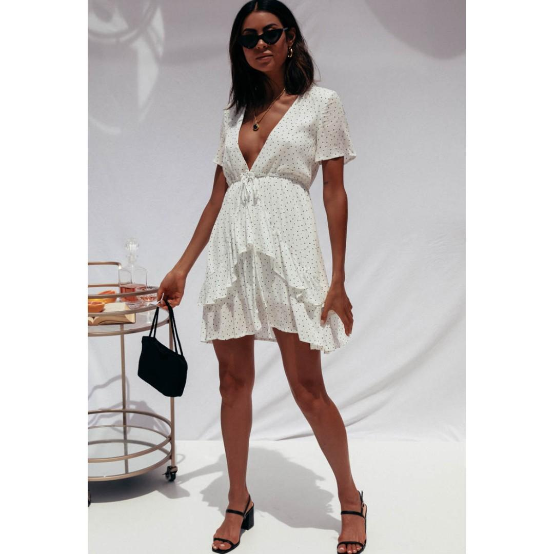 AFTERPAY AVAILABLE - SUNDAYS WHITE POLKA DOT SUMMER DRESS 8 10 AND 12